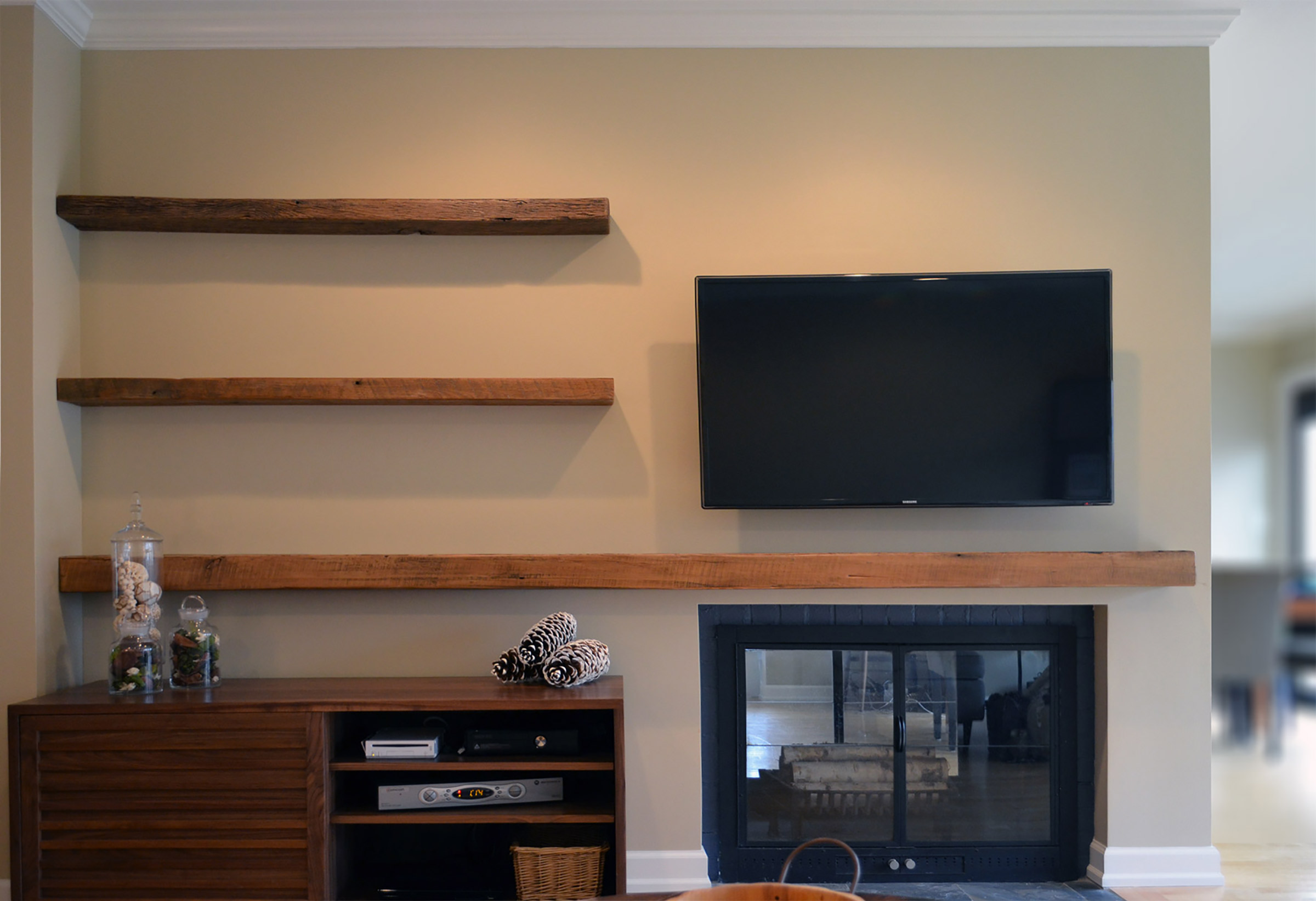 Reclaimed Media Cabinet Rustic Wood Floating Shelves Abodeacious