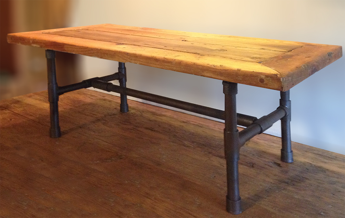 Reclaimed wood pipe leg coffee table Abodeacious : Pipe table3 from abodeacious.com size 1200 x 759 jpeg 404kB