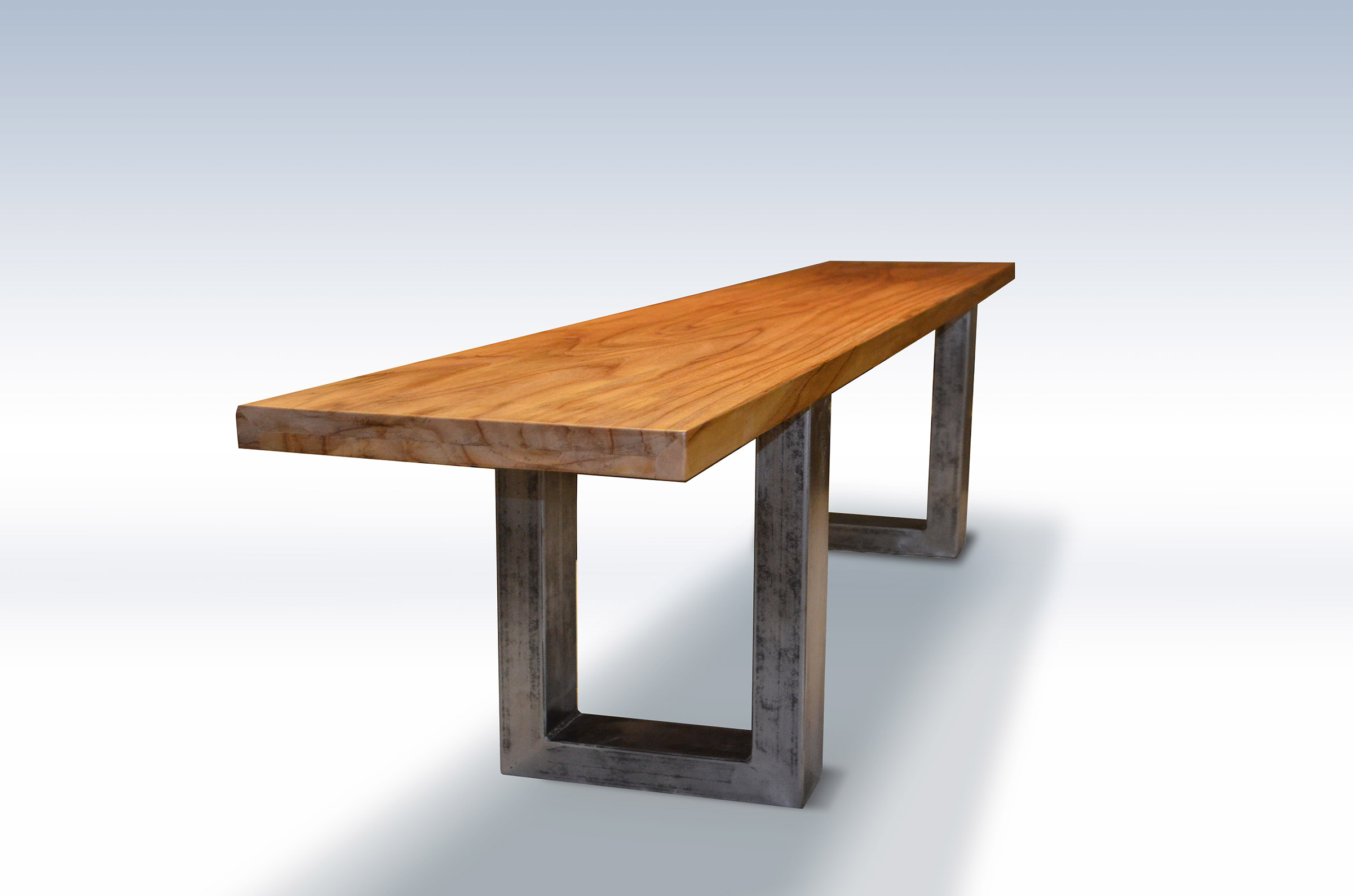 Modern teak wood bench with metal legs