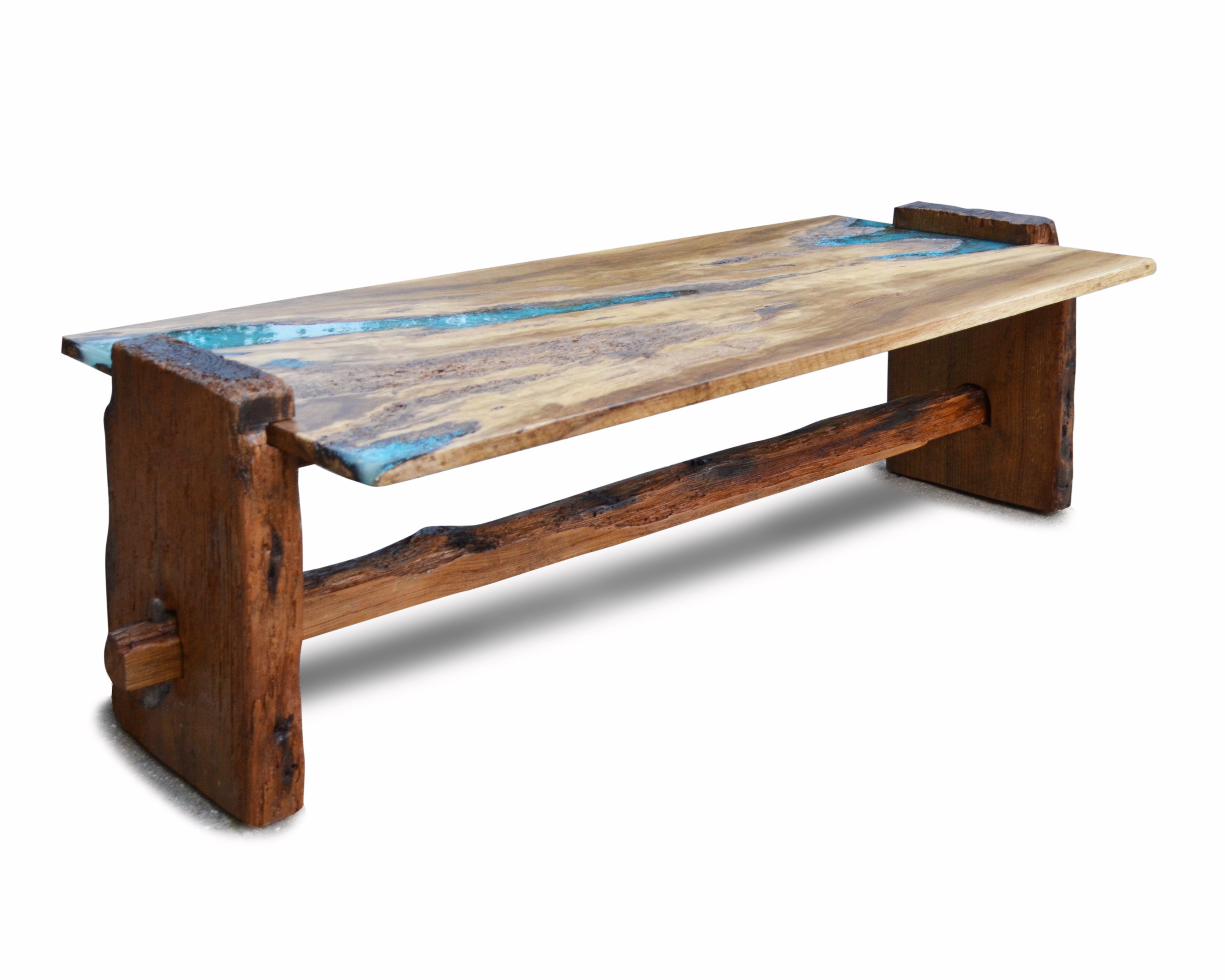 Inlay Coffee Table ~ Rustic oak coffee table with turquoise inlay abodeacious