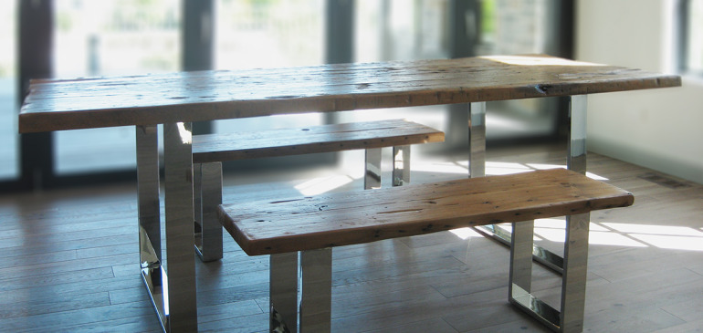 Modern rustic wood table and benches