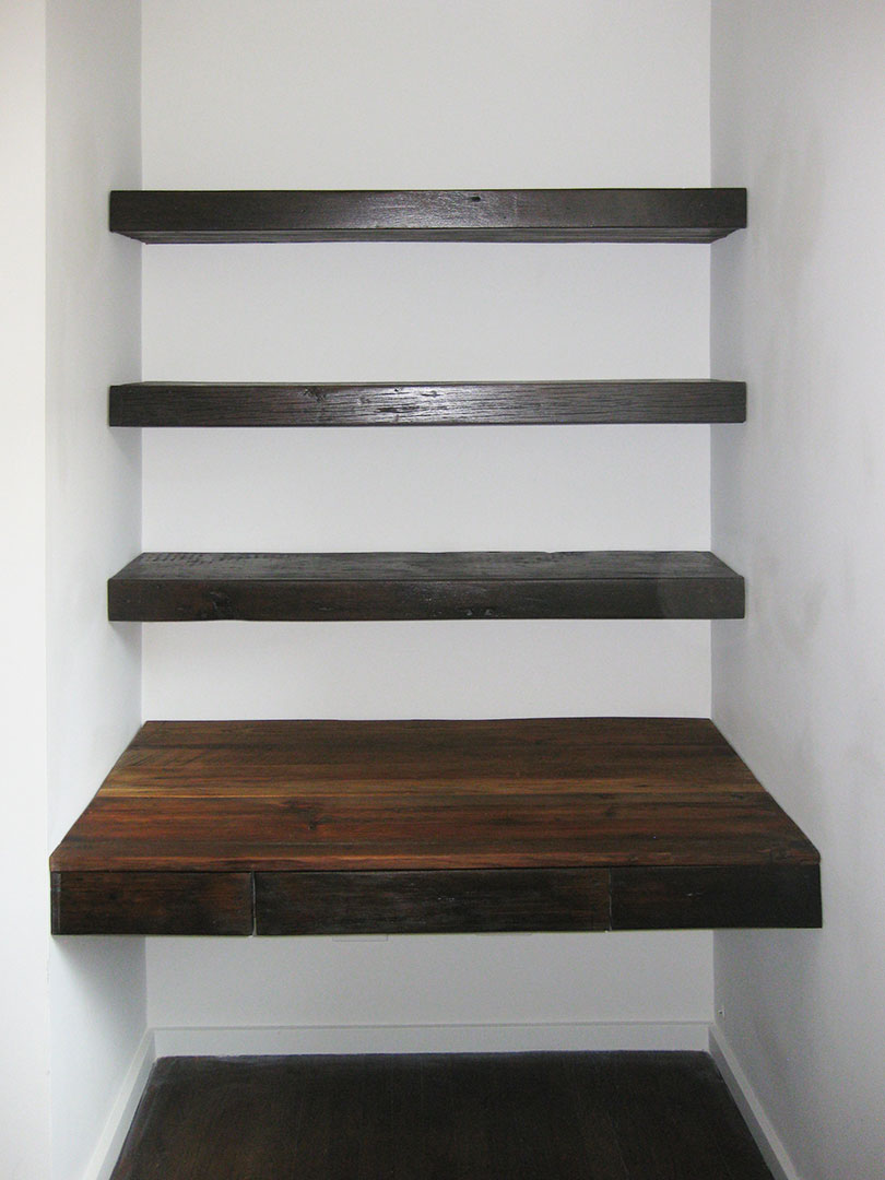 Reclaimed Wood Floating Desk And Shelves