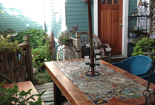 Reclaimed wood mosaic patio table