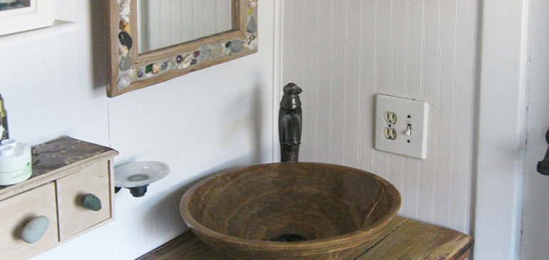 Rustic wood bathroom sink vanity