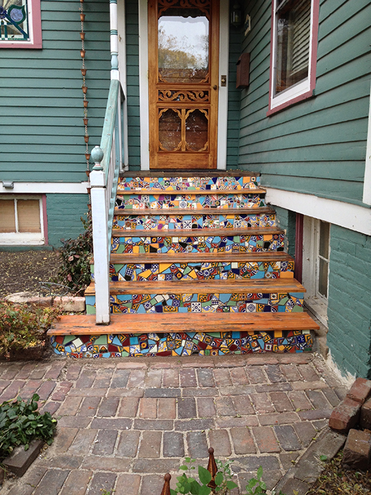 Custom Installation Rustic Wood Amp Mosaic Front Steps