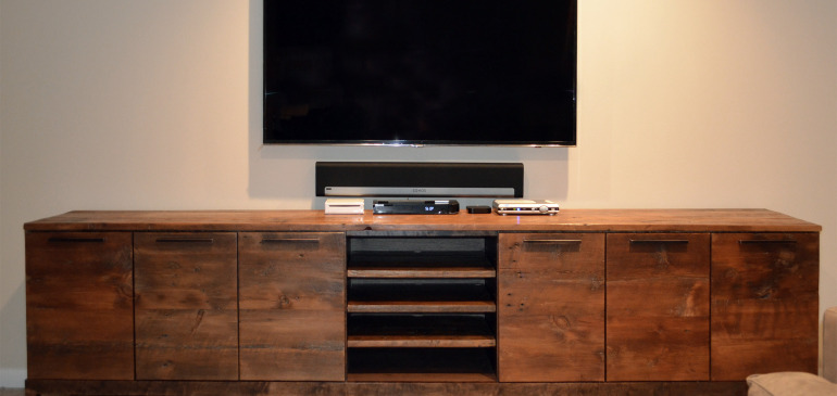 Reclaimed wood media center console