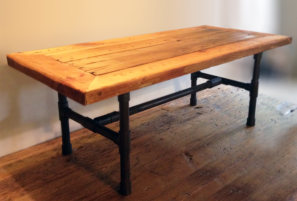 Reclaimed wood pipe leg coffee table