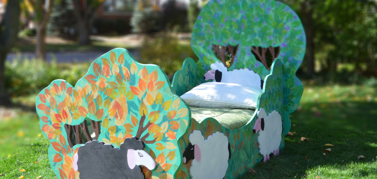 Hand painted kids tree bed