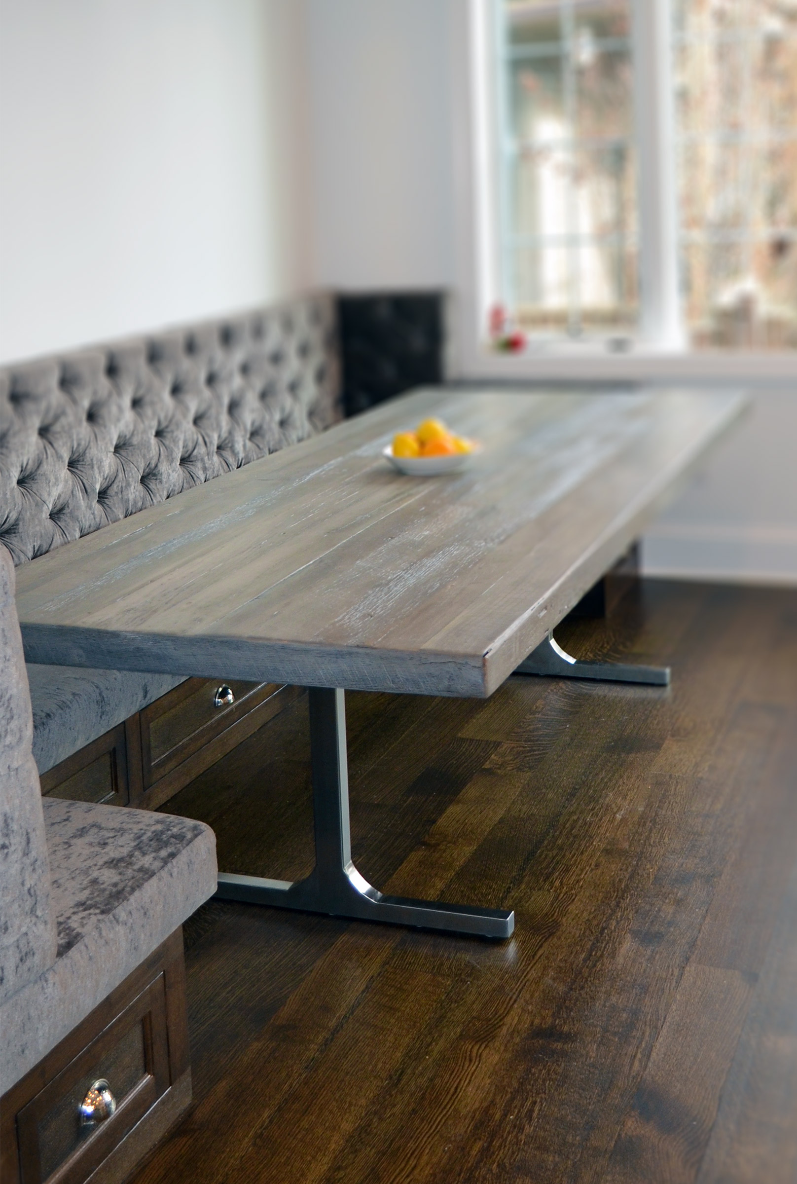 Grey Rustic Modern Dining Table Abodeacious