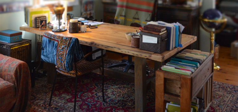 Rustic wood office desk and file storage