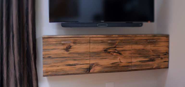 Rustic floating media cabinet