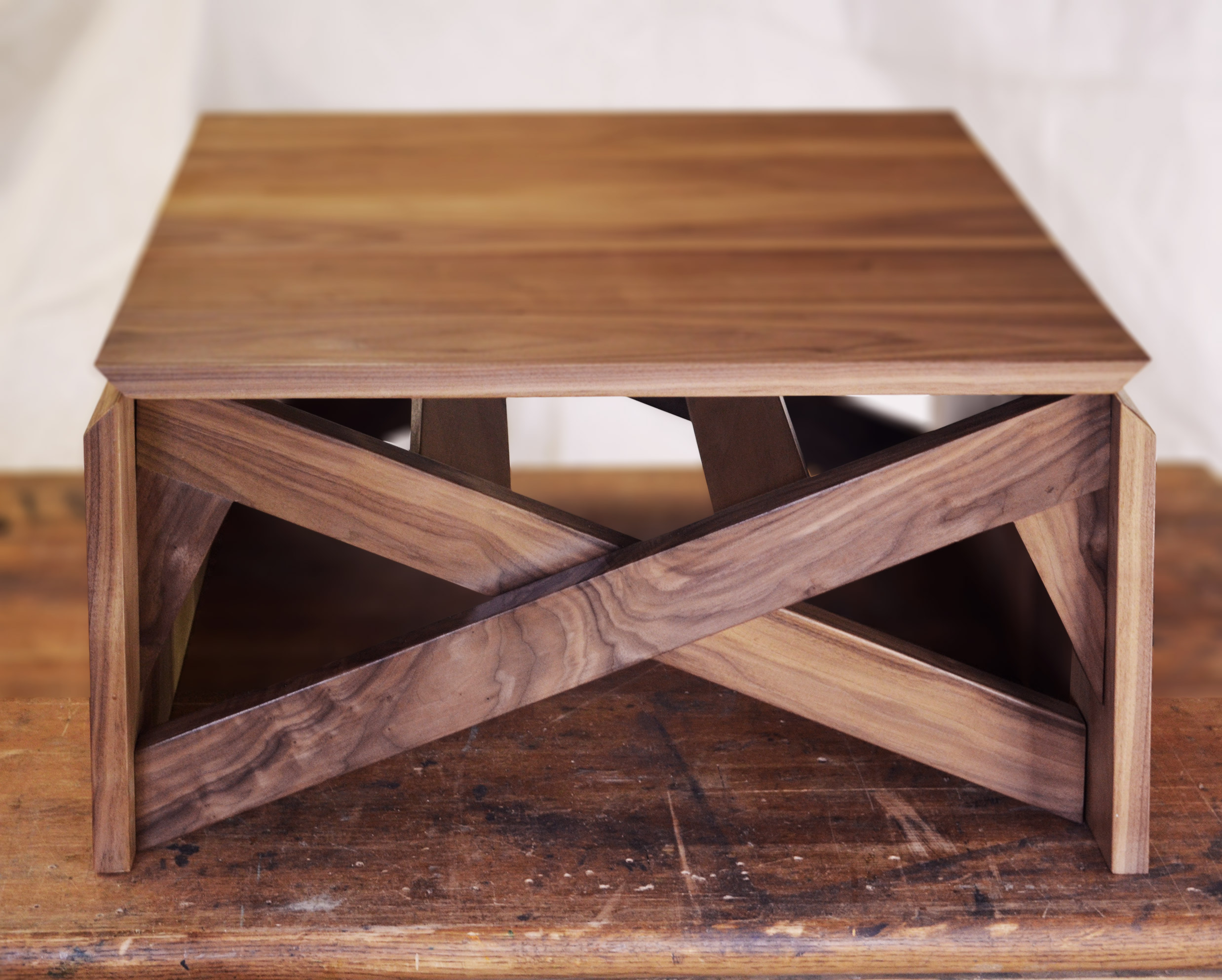 Walnut transforming coffee table