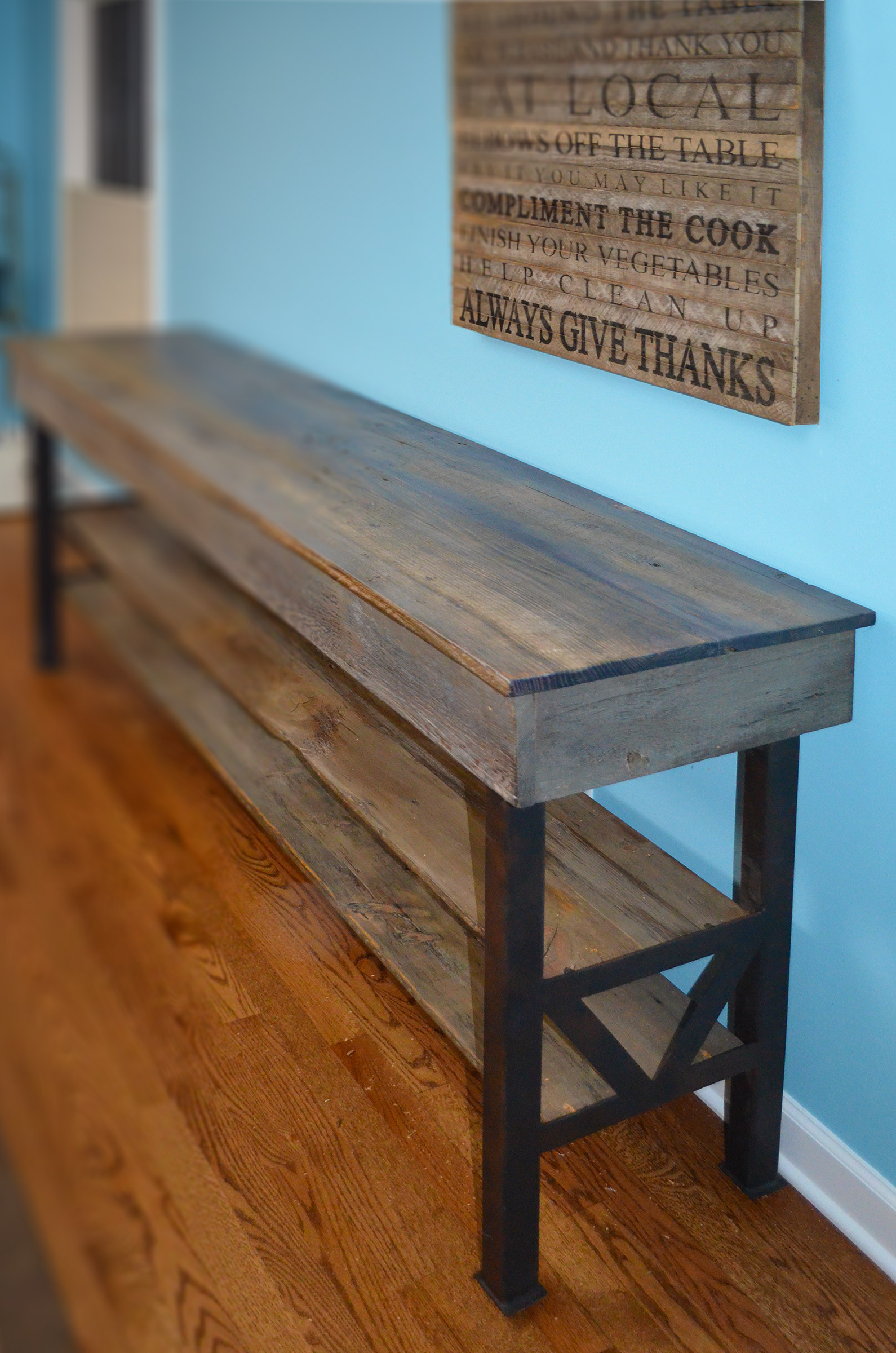 Grey-DC-WV1 - Rustic Oak Industrial Dining Console Abodeacious