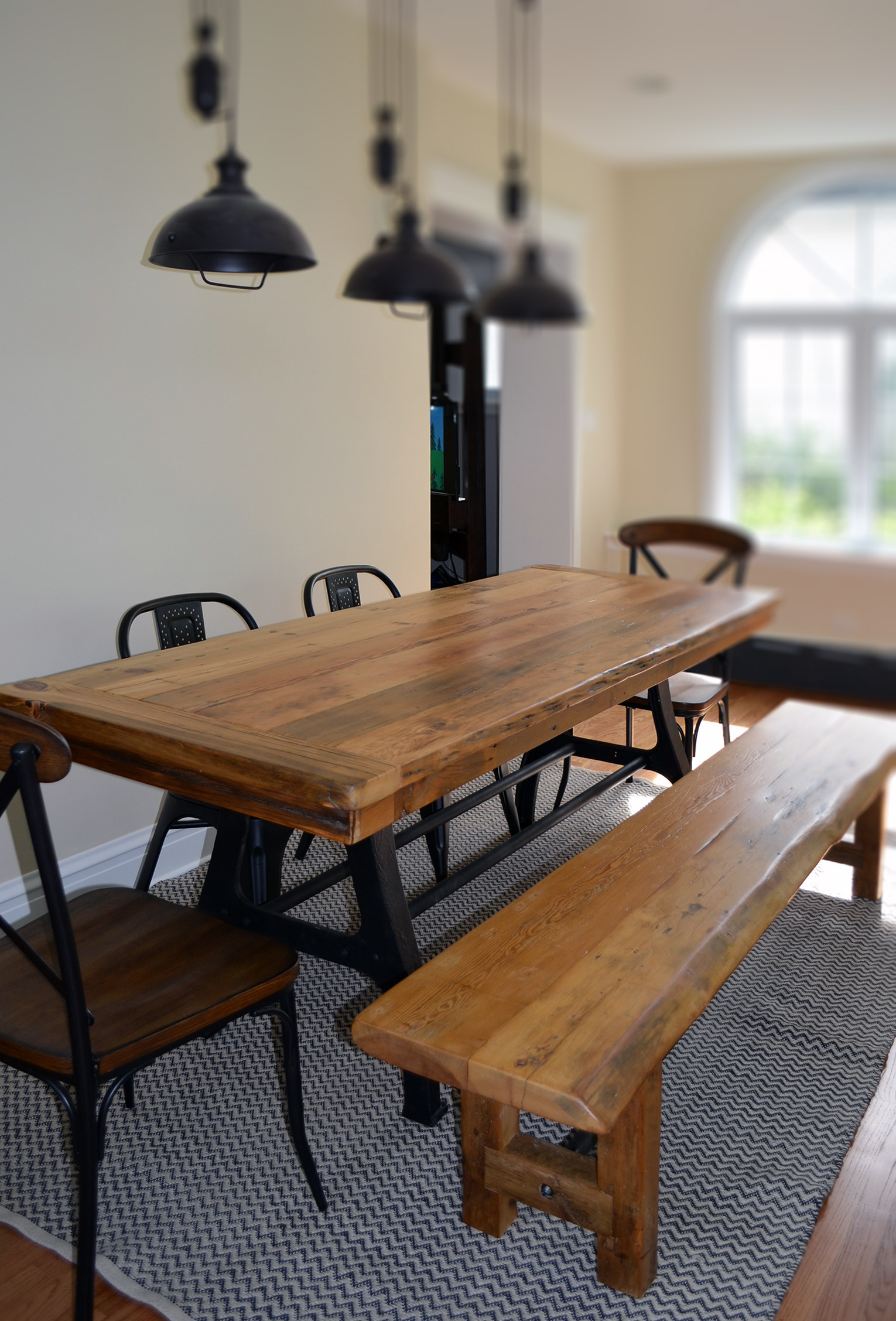 Cool Industrial Wishbone Leg Table And Bench Abodeacious Home Interior And Landscaping Eliaenasavecom