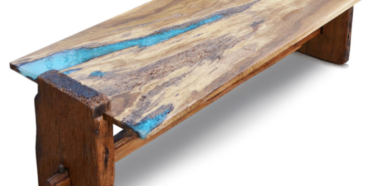 Rustic oak coffee table with turquoise inlay