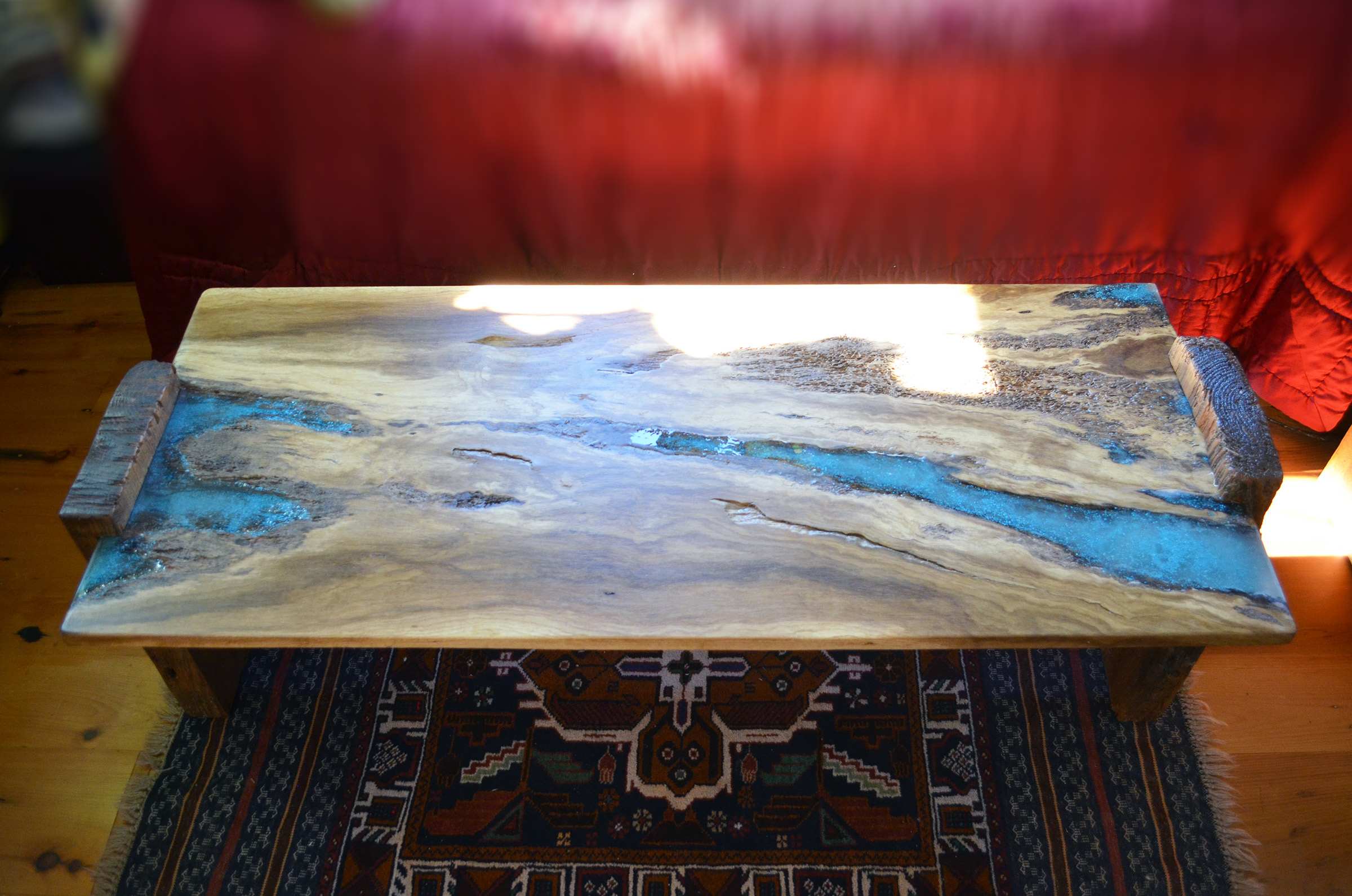 Rustic Oak Coffee Table With Turquoise Inlay Abodeacious