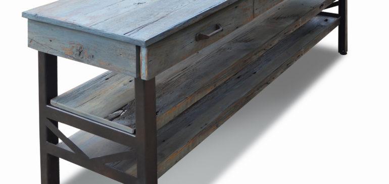 Rustic oak industrial dining console