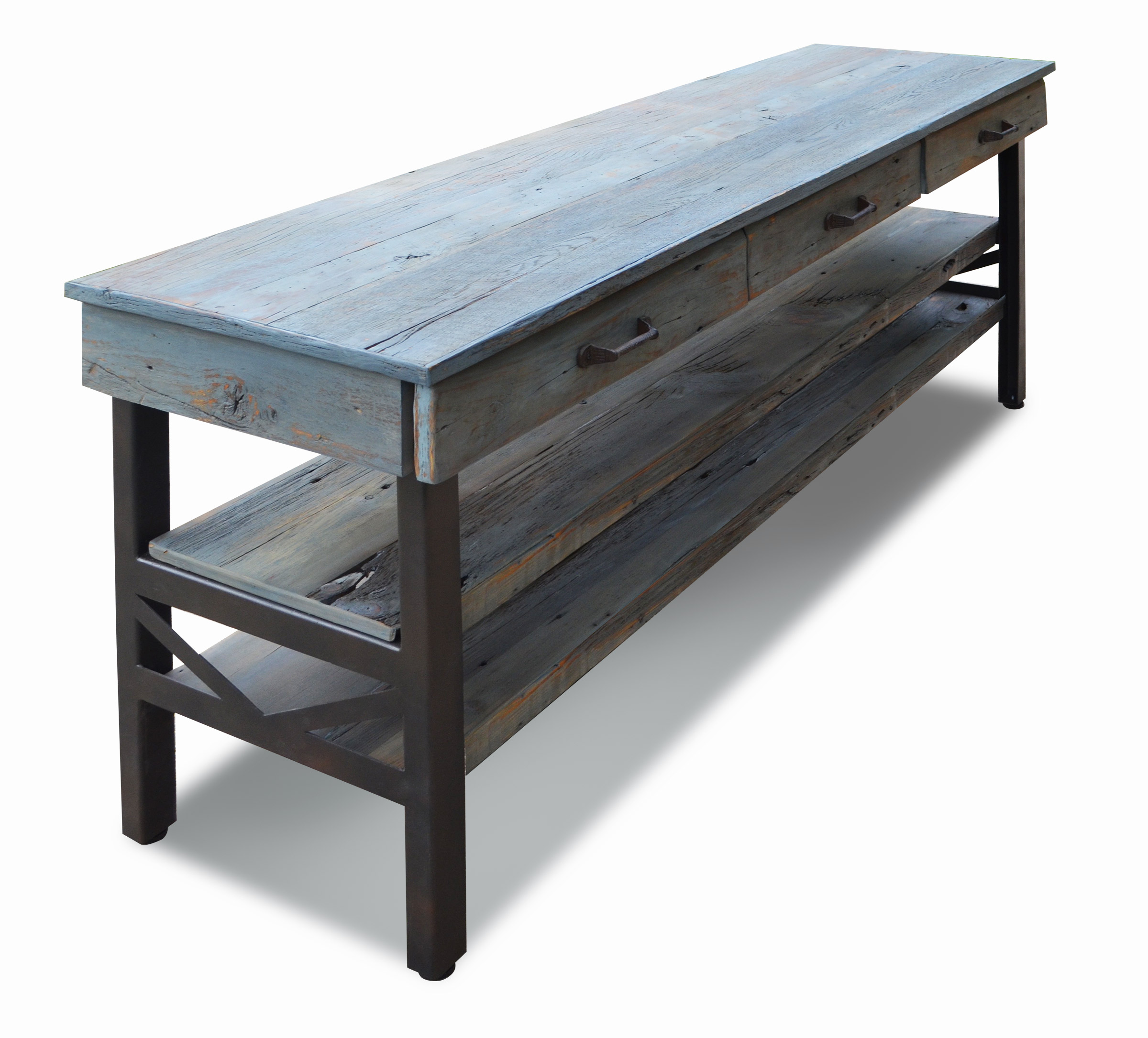 456a656b6970 Rustic oak industrial dining console