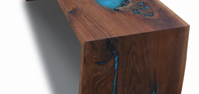 Live edge walnut dining console