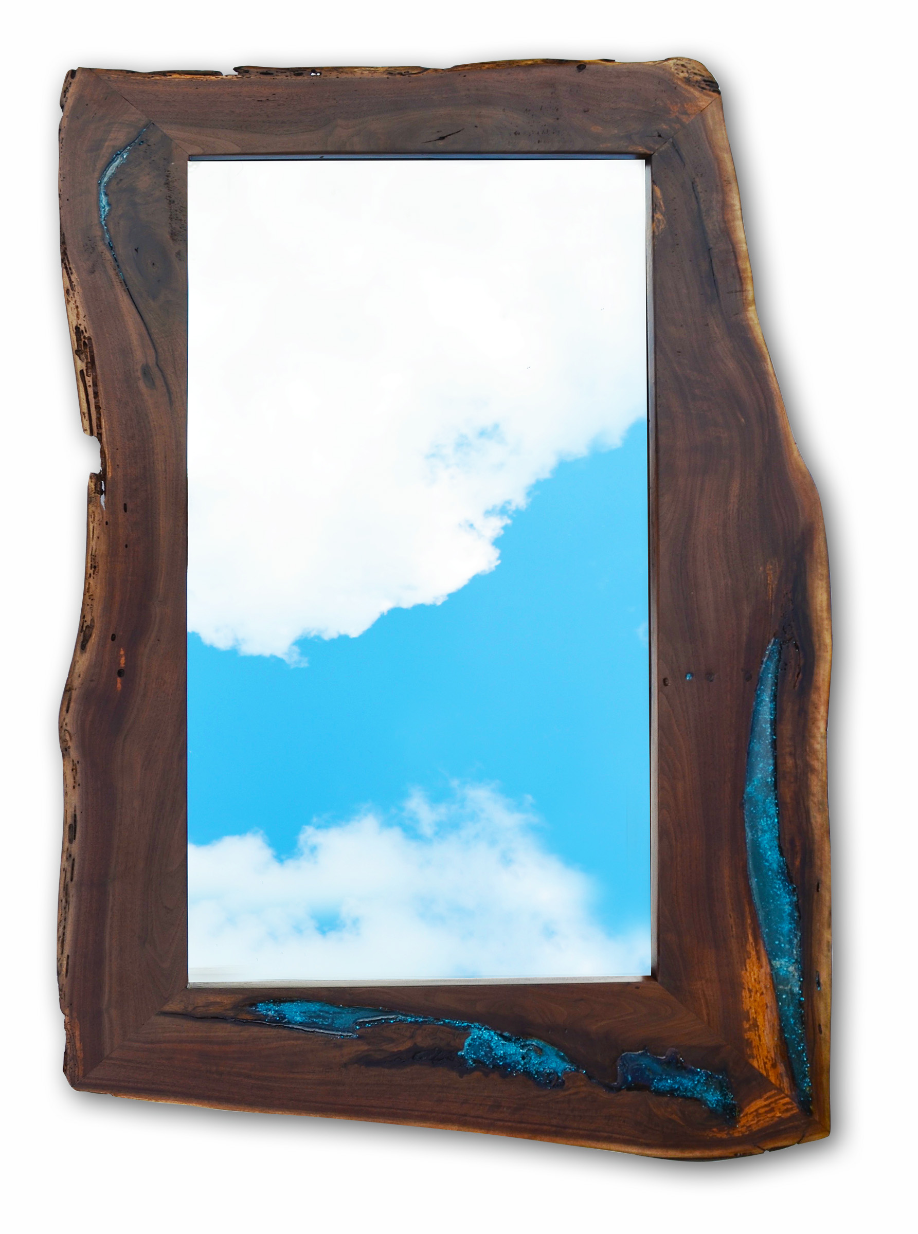 Live Edge Walnut Inlay Mirror Abodeacious