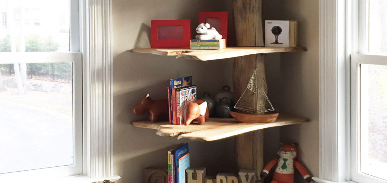 Reclaimed wood tree shelf