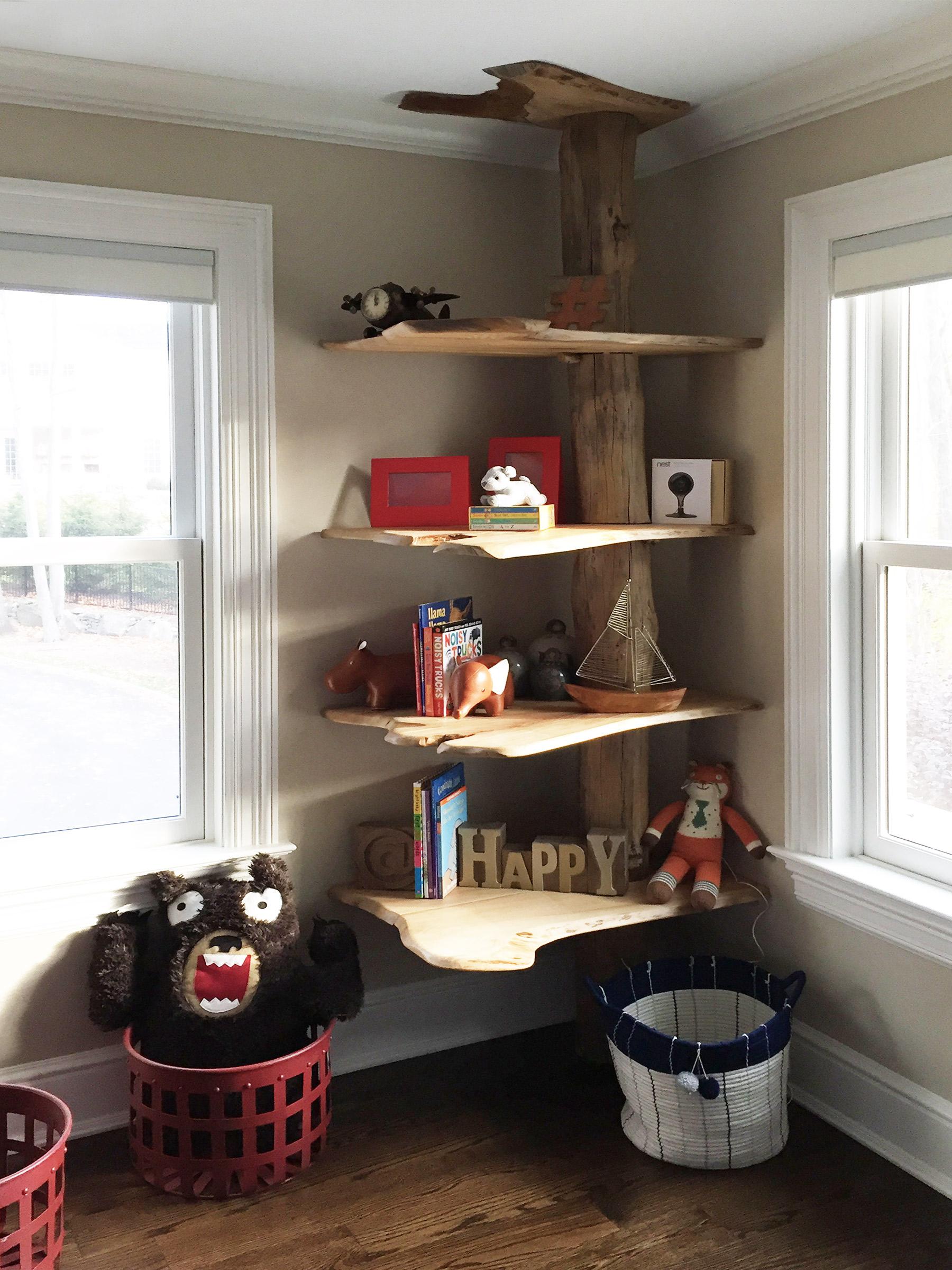 Reclaimed Wood Tree Shelf Abodeacious