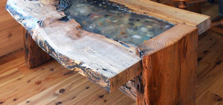 Live edge oak end table
