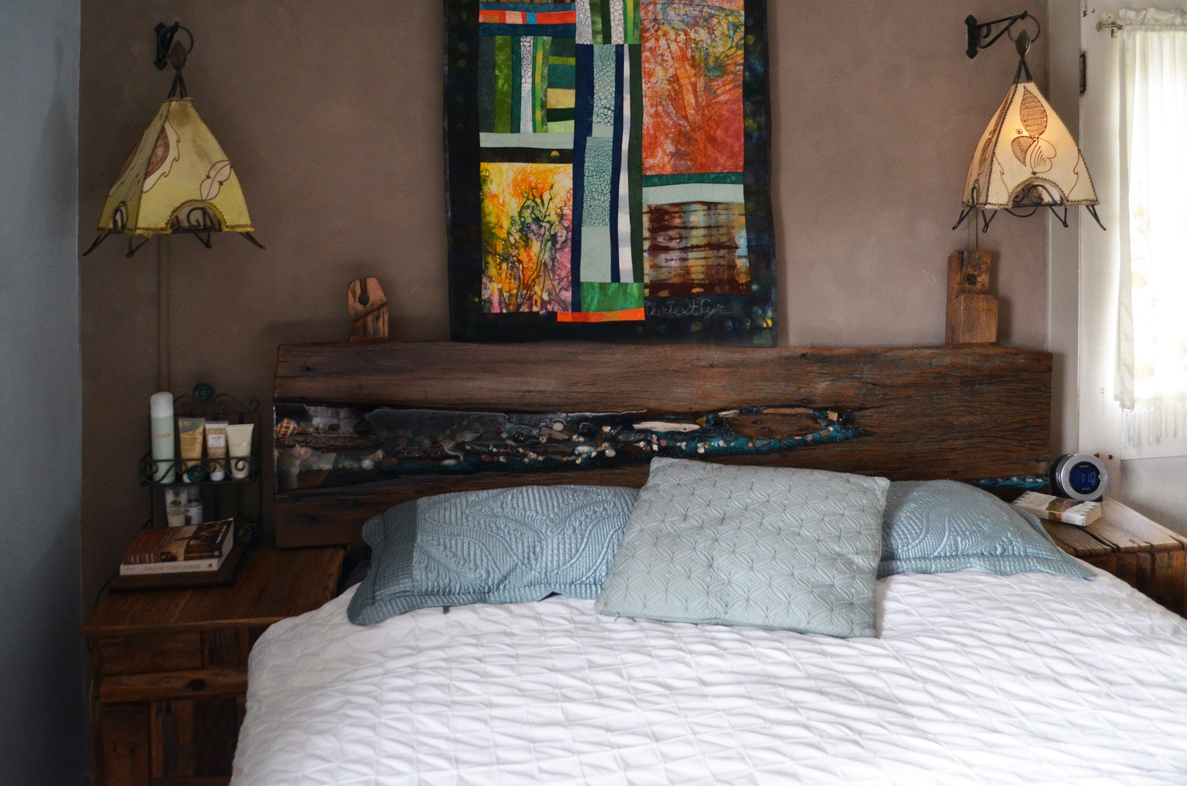 Rustic Oak Headboard With Night Stands Abodeacious