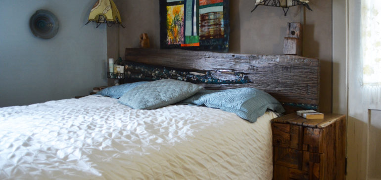 Rustic oak headboard with night stands