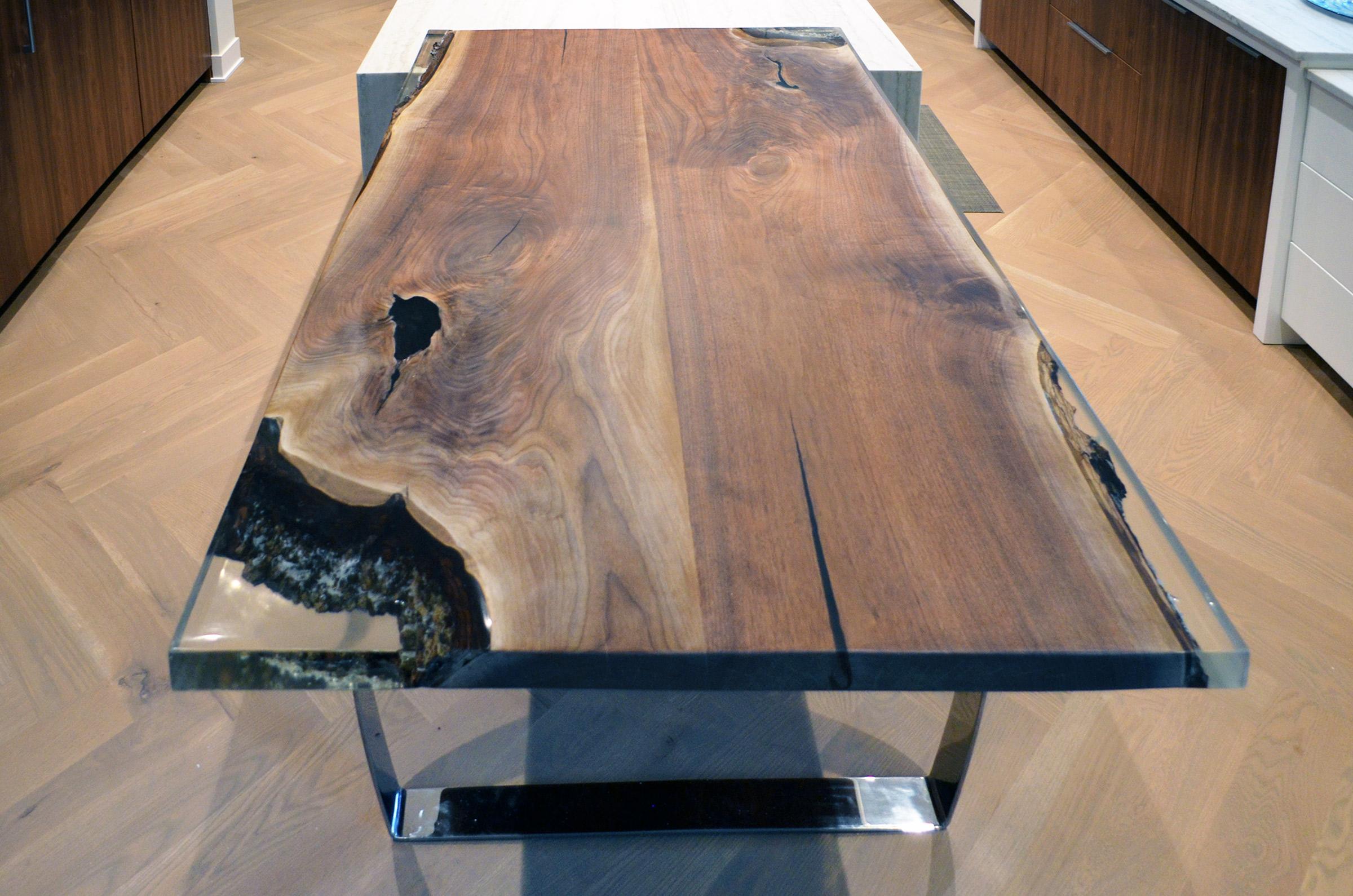 Live Edge Walnut Epoxy Inlay Dining Table Abodeacious