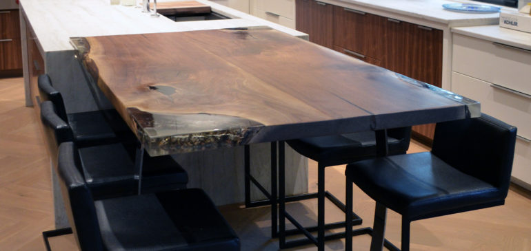 Live edge walnut epoxy inlay dining table