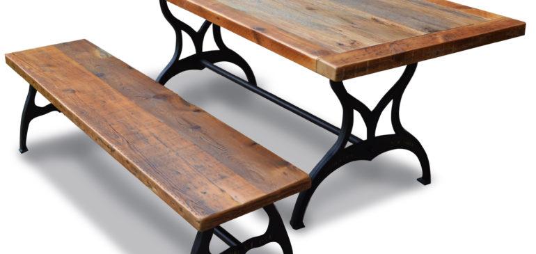Reclaimed oak table with industrial legs