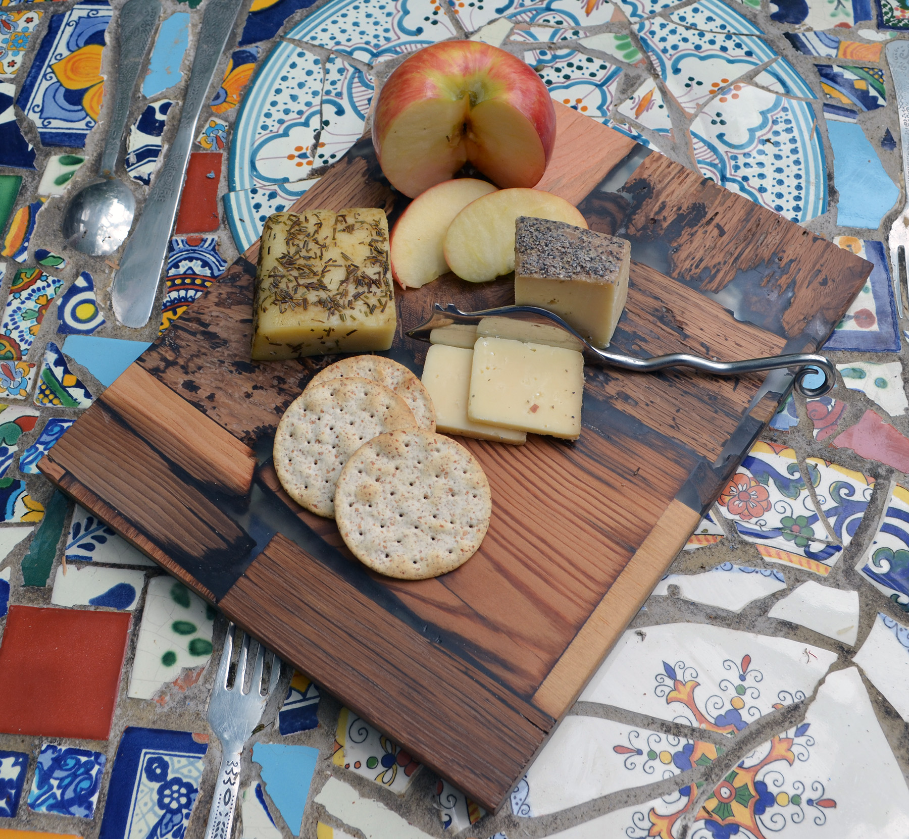 Rustic Wood Mosaic Servingcutting Board Abodeacious